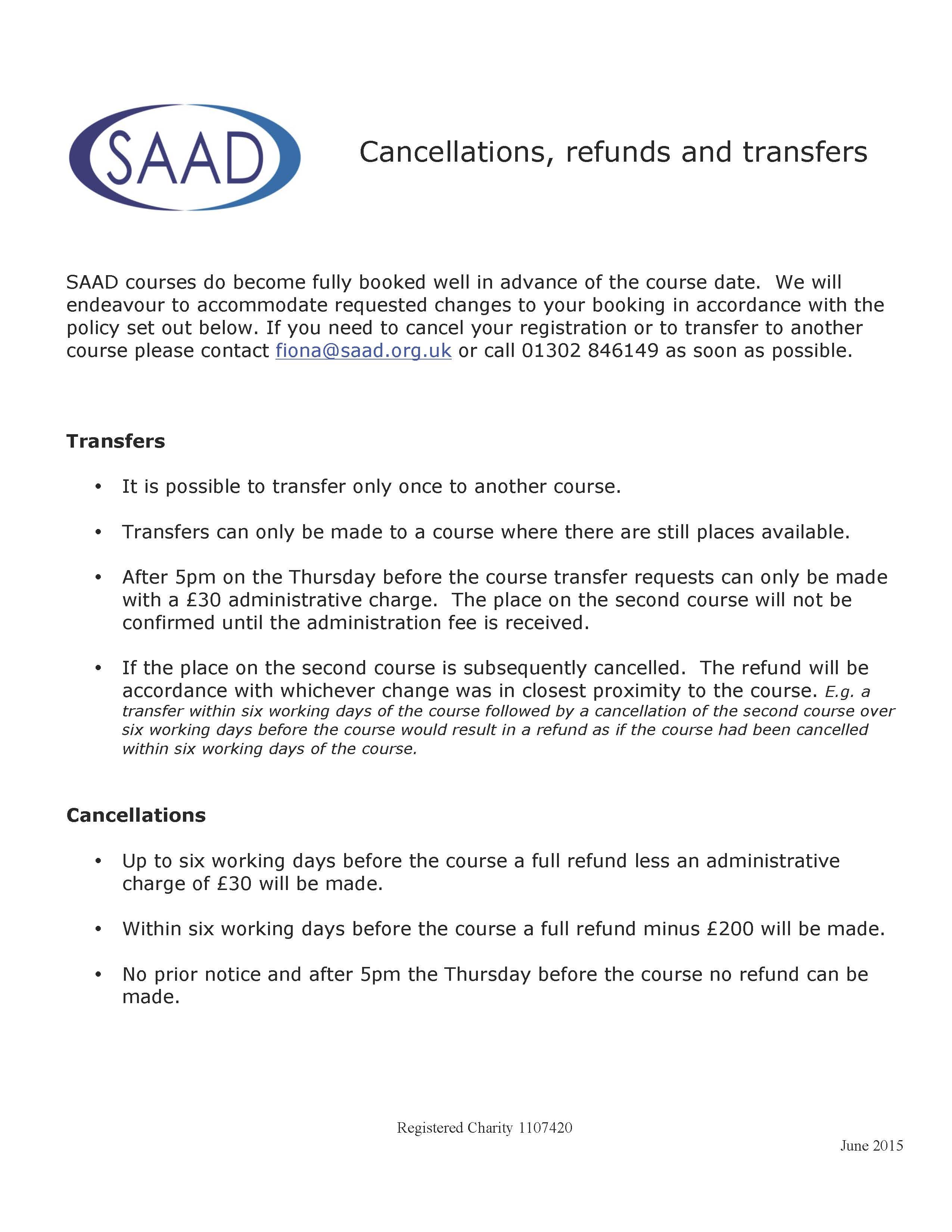 Saad Cancellation Refund Transfer Policies